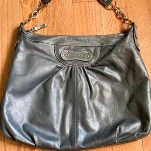 Longchamp gray leather handbag large excellent